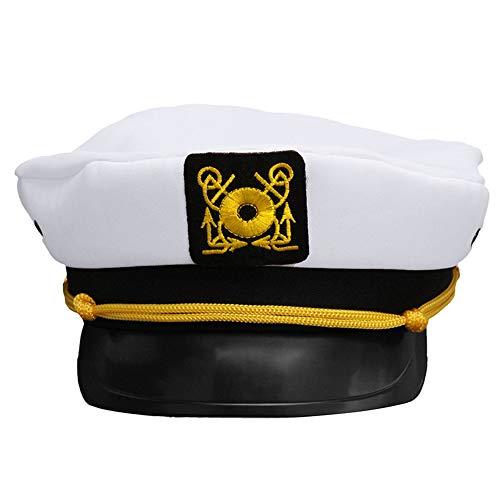 MDKZ Kappe Unisex Bootfahren Militär Hut Weiß Skipper Matrosen Erwachsene Party Kostüm Hut - Skipper Kostüm
