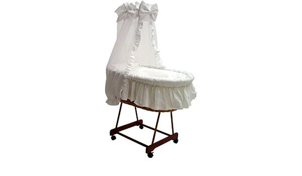 Grapi stubenwagen natur mit matratze und textilausstattung weiß