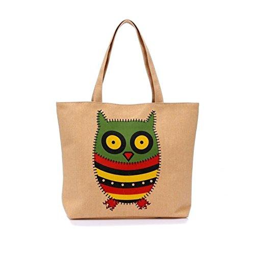 Zrong da donna Cartoon Animale Gufo Borsa Borsa Shopper Shopping Carrier Bag, Yellow (giallo) - ZrongBB128 Yellow