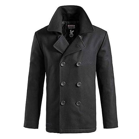 Surplus Pea Coat Marine Caban Jacke, Groesse XL, schwarz