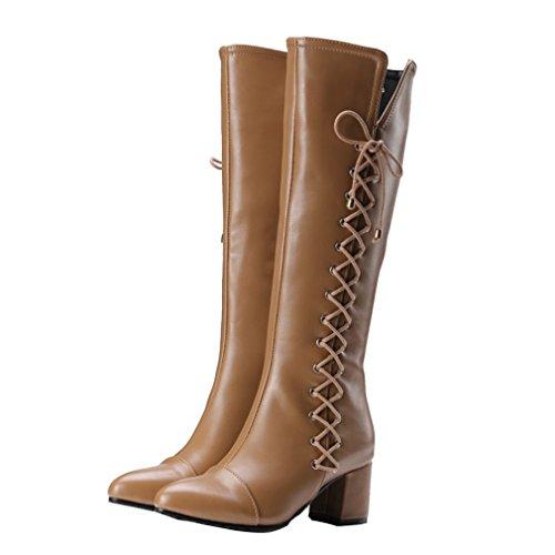 YE Damen Spitze Chunky High Heels Kniehohe Schnür Stiefel mit Blockabsatz und Reißverschlüsse Retro Süße Herbst Winter Schuhe Aprikose