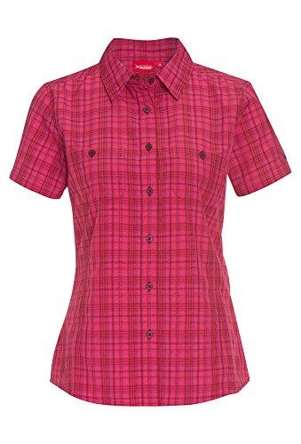Vittorio Rossi Outdoor-Bluse mit UV-Schutz, Damen Damenbluse Funktionsbluse Trekking Wandern Kurzarm Karobluse Tailliert Pink,46