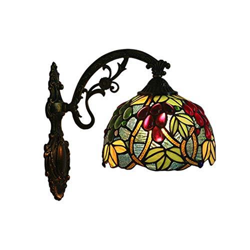 Tiffany Wandleuchten Europäischen Barock Tiffany Leuchte Schlafzimmer Licht Traditionell Spiegel Vorne Licht Retro Badleuchte Farbe Glas Lampeschirm Wandlampe Für Schlafzimmer Wohnzimmer Foyer Flur,U -