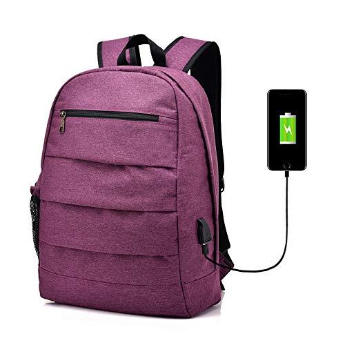 MFHSB Travel Laptop Rucksack, Business Laptop Rucksack mit USB-Ladehafen, Water Resistant College School Computer Rucksack Tasche für Men/Frauen,Purple