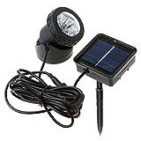 Monlook 1 Pcs Solar Betrieben LED Scheinwerfer Lampe Wasserfest für Garten-Pool Teich Außen