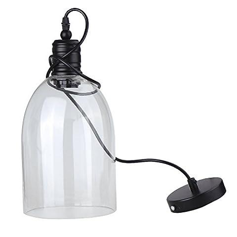 Vintage Industrie Deckenleuchte, Big Bell Form Klar Glas Schatten Loft Hängelampe Retro Bestandteil Vintagelook für Cafe Bar Küche, Schwarz (E27Leuchtmittel nicht im Lieferumfang (Brass Bell Hardware)