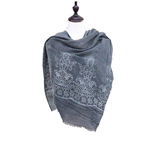 Donna Sciarpa Irregolari Crepe Folds Vintage Cotone Sciarpa Scialle Darkgray