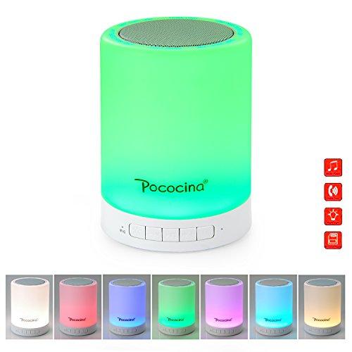 [Neue Version] Pococina LED Bluetooth Speaker Lautsprecher, Tragbares Touch Dimmbares Nachtlicht mit Wireless Lautsprecher für Handy & Tablet Bluetooth, TF & AUX unterstützt, ideal für Kinder, Schlafzimmer, Badezimmer usw.