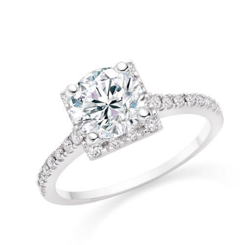 Diamond Manufacturers, Damen Verlobungsring mit 0.75 Karat G/VS1 feinem und zertifiziertem Runddiamant in Platin - 2