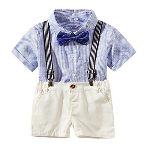 SuperSU Bekleidungssets ►▷ Baby Jungen Bekleidungssets, 2tlg Kurz Bib Pants + Kinderhemd Baby Kleikind für Sommer Tägliche Activewear Jungenkleidung Festliche Taufe Hochzeit -