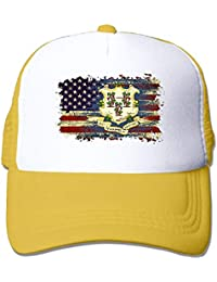 9601b75bb0558 Vidmkeo Adult S Connecticut USA American Flag Youth Mesh Baseball Cap  Summer Adjustable Trucker Hat Multicolor45