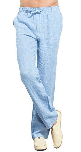 UAISI Leinenhosen für Männer Sommer Lang Leinen Hose Herren Leichte Slim Fit Sommerhose