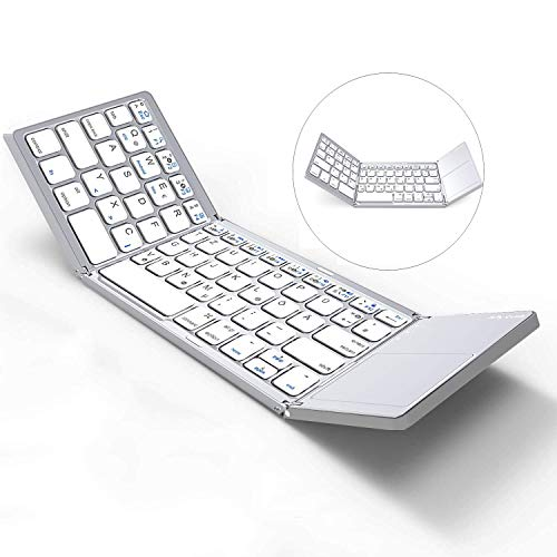Jelly Comb Kabellose Bluetooth Tastatur, Faltbare Ultraslim Wireless Tastatur mit Touchpad für PC, Laptop, Computer, Tablets, Smart TV, QWERTZ Deutsches Layout, Silber