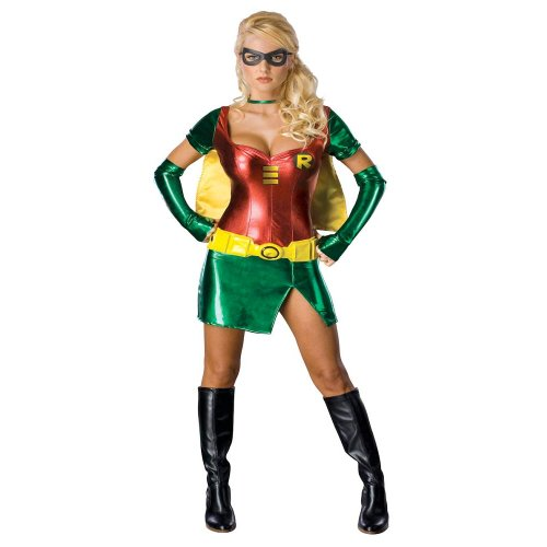 Damen Sexy Female Robin Batman Sidekick Fancy Kleid Halloween-Kostüm - Kleine (Kleider Robin Batman Und)