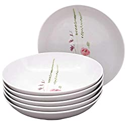 Kahla 39F191A50002C Wildblume rot gelb Tellerset für 6 Personen 6-teilig Suppenteller Blumendekor Tiefe Teller rund Pastateller