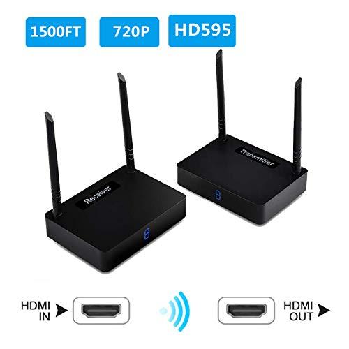 Wireless HDMI Sender measy HD595 TV Sender hdmi funkübertragung Full hd Transmitter IR-Fernbedienung(HD595-450M) (Für Fernbedienung Tv-sender)
