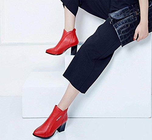 stivali delle donne con grossi stivali Martin ha sottolineato single stivali da donna con tacco alto Ms. scarpe ascensore scarpe casual autunno Red