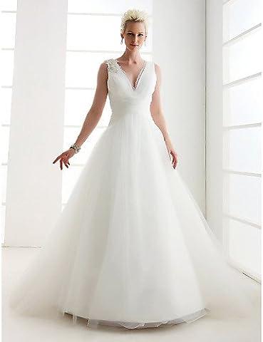 Heart&M Princess Petite / Plus Sizes Wedding Dress - Classic & Timeless Vintage Inspired Floor-length V-neck Tulle withLace / , us 20w / uk 24 / eu