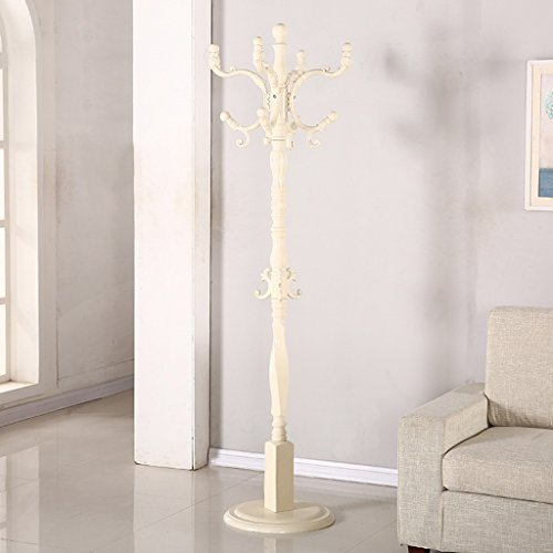 SKC Lighting-Porte-manteau Plancher Solide Bois Manteau Rack Continental Combinaison Cintre Creative Chambre Salon Vêtements Rack (Couleur : Blanc)