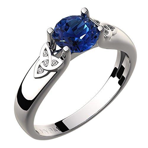 UPCO Jewellery Bague Celtique En Argent Sterling, CZ Pétillante 8 mm Bleu Saphir, Nœuds De La Trinité Blancs – 6
