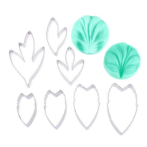 BESTONZON 9-teiliges Ausstechformen-Set mit den Formen Pfingstrose, Blume, Blütenblatt, Fondant- und Kuchen-Formen, Zuckerguss-Deko, Modellier-Utensilien (Pfingstrose Cutter Blume)