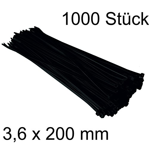 DKB Qualitäts Nylon Kabelbinder Schwarz (1000, 3,6 x 200 mm)