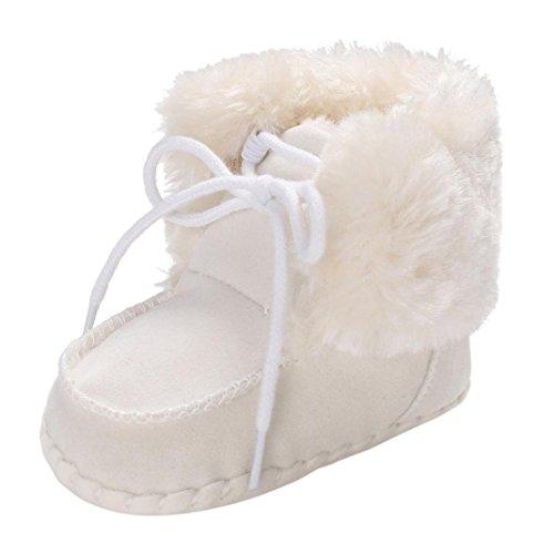 Fuibo Babyschuhe, Kleinkind Mädchen Jungen Neugeborenen Anti-Rutsch-Baby Schnee Boot Schuhe (11, Weiß)