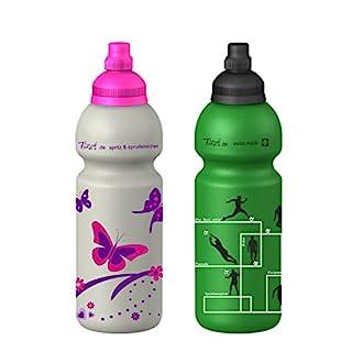 Fizzii 600ml SCHMETTERLING + Fizzii 600ml FUSSBALL, Spar-Set, Kinder Kunststoff Trinkflasche auslaufsicher bei Kohlensäure, schadstofffrei, spülmaschinenfest