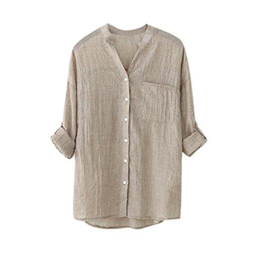 VEMOW Heißer Verkauf Mode Frauen Damen Sommer Herbst Freien Baumwolle Solide Langarm-Shirt Beiläufige Lose Bluse Button-Down Tops (EU-46/CN-4XL, Khaki)