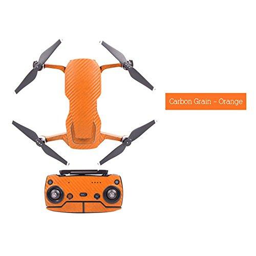 Zubehör für Dajiang, Malloom Wasserdichte PVC-Kohlenstoff-Korn-Grafik-Aufkleber-Volle Gesetzte Haut für DJI Mavic-Luft Orange