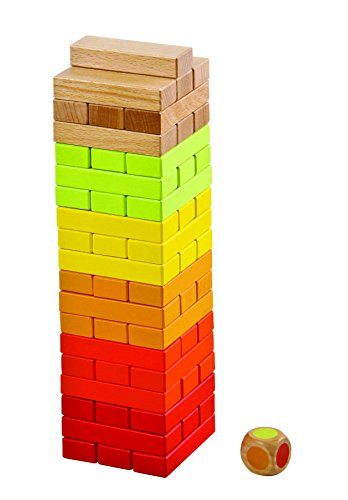 Lelin Children Kids Wooden Tumbling Tower Stacking Block Game 54 pcs