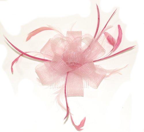 crystal-innovations-ref-7786-pink-im-loop-net-band-und-feder-fascinator-auf-einem-klaren-kamm
