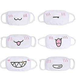 6 Piezas Algodón Máscaras, Bicicleta Máscara, Protección Contra el Polvo Mask, Suave Kawaii Cálido Máscara De Proacc (Blanco)