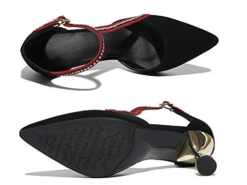 Beauqueen Scarpin Pointed-toe pompe cinturino alla caviglia casual scarpe da lavoro delle donne tacco basso creativa Elegant Black Europe formato 34-39 Black