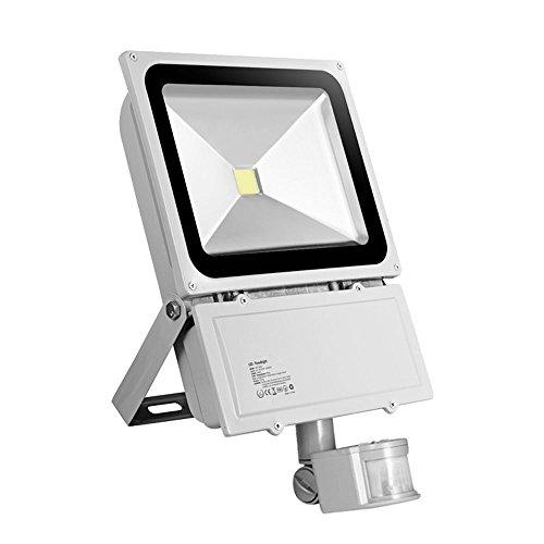 HimanJie LED Fluter Spot Außenstrahler Flutlich Strahler + Bewegungsmelder ausser Scheinwerfer Außenwandleuchte wasserdicht IP65(Kaltes Weiß, 100W) (Outdoor-flut-licht Led Par38)