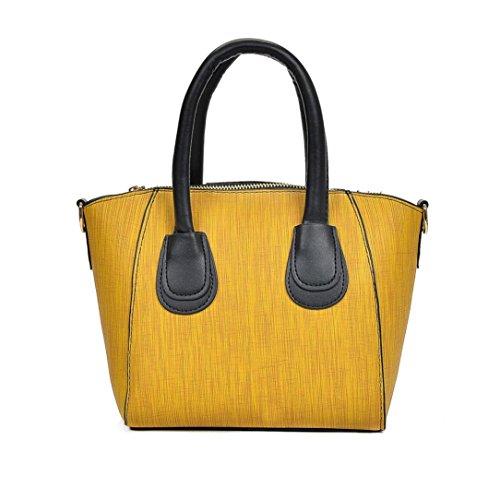 Longra Borsa a tracolla singola borsa in pelle di colore solido moda donna PU tote Giallo