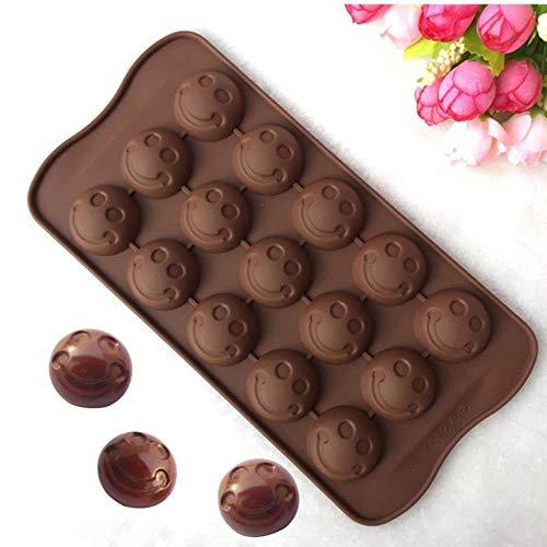 HAHAJY 15 Loch Kleine Gesichtsform Silikonform, Gelee, Schokolade, Seife, Kuchen Dekorieren DIY Geschirr, Backformen, 1