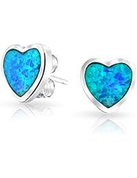 Bling Jewelry Plata Esterlina Ópalo Azul Etampado Arete Corazón Epárrago