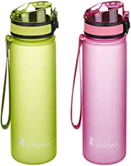 Amazon Brand - Solimo Sports Water Bottles, 600 ml, Set of 2 (Pink, Green)
