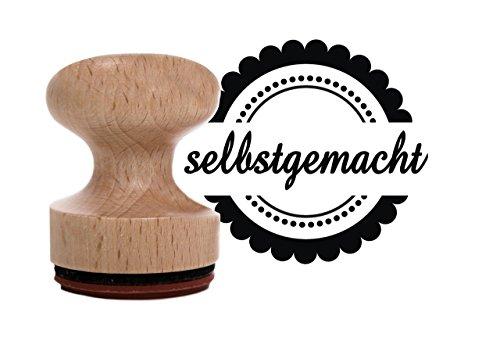 SELBST-GEMACHT Holz-Stempel mit 3 cm Durchmesser, Motivstempel mit Schriftzug, tolles Teil um handgemachte Geschenke zu verzieren.