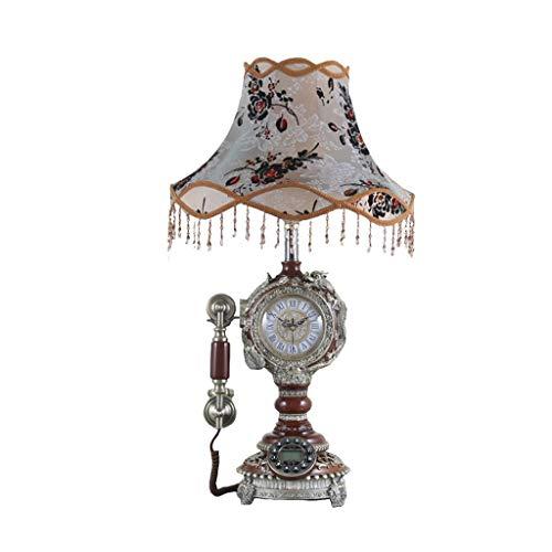 Kategorie Telefon (Gesundheit UK Telefon-Telefon Französisch Harz Amerikanische Spitze Tischlampe Retro Antike Haushalts Festnetztelefon Mit Uhr Willkommen (Farbe: Braun))