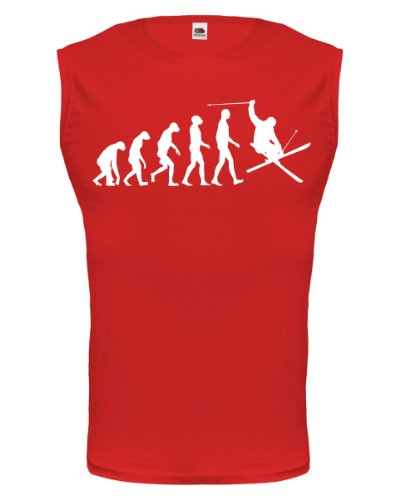 buXsbaum® Tank Top The Evolution of skiing Red-White