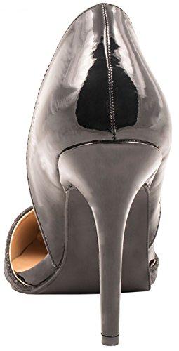 Pumps High Schwarz Stiletto Moderne Elara Paris Damen Heels Spitze 5AqSSw7p