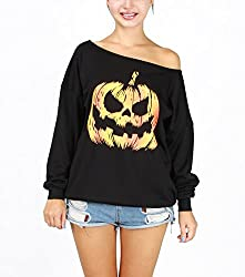 Hqclothingbox Women Halloween Costume Off Shoulder Tops Casual Pullover Slouchy Sweatshirt