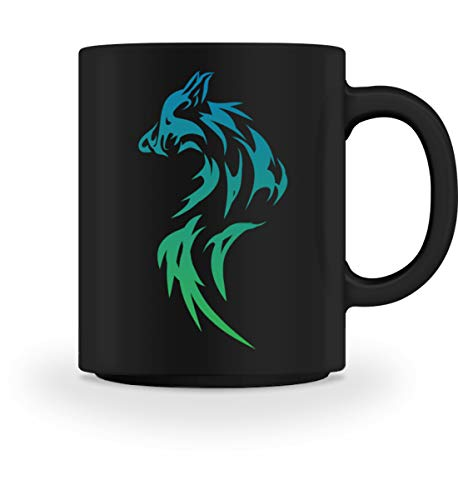 PlimPlom Wolf Tribal Tasse Teetasse Tattoo Kaffeetasse Teetasse Kaffeebecher - Tasse -M-Schwarz