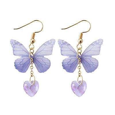 Scrox 1Pair Fashion Earrings Purple Butterfly Heart Pendant Earrings Women Girls Earrings Ear Studs Beautiful Charming Jewelry Accessories Gift (Butterfly)