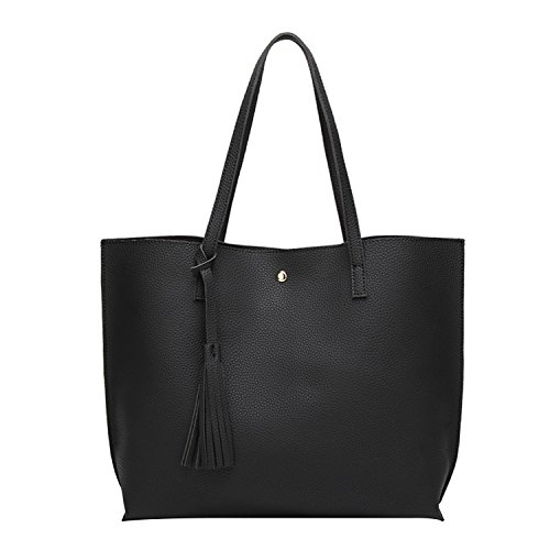 PB-SOAR Damen Mädchen Fashion Shopper Schultertasche Schulterbeutel Henkeltasche Handtasche Einkaufstasche aus Kunstleder 36x30x11cm (B x H x T) (Schwarz) (Außen-tasche Große)
