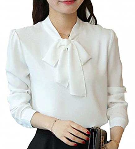 Lucky again-uk Women's Solid Color Blouse Tops Long Sleeves Tie-bow Neck Shirt White S
