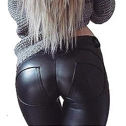 Uni-Wert Mujeres PU Leggins Cuero Brillante Negro Pantalón Cintura Alta Skinny Elásticos Pantalones