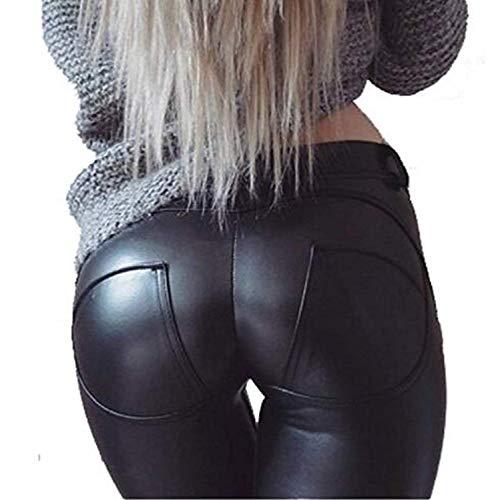 Uni-Wert Mujeres PU Leggins Cuero Brillante Negro Pantalón...